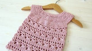 How to crochet an EASY lace baby dress