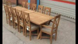 Large Cross Leg Oak Dining Table With Carver Dining Chairs