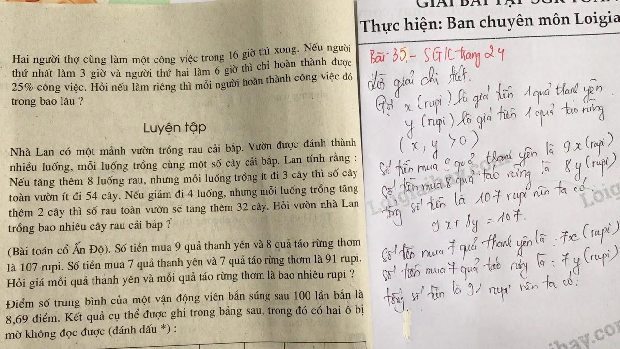 Giải bài 35 trang 24 SGK toán 9 tập 2