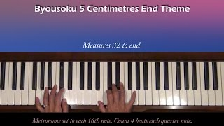 Byousoku 5 Centimetre End Theme Piano Tutorial