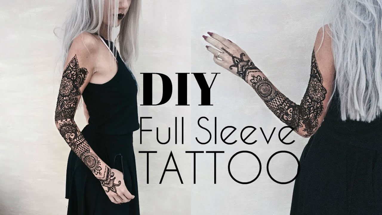 Diy Temporary Full Sleeve Tattoo W Henna Stella Youtube