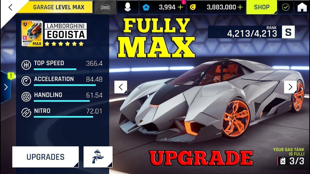 Asphalt 9 Lamborghini Egoista Upgrade Fully Max Youtube