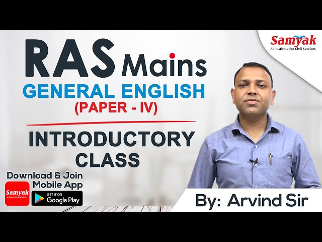 An Introduction to General English by Arvind Sir    Complete course available on the SAMYAK app.