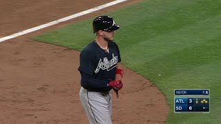 ATL@SD: Flowers takes pitch off arm, plates a run