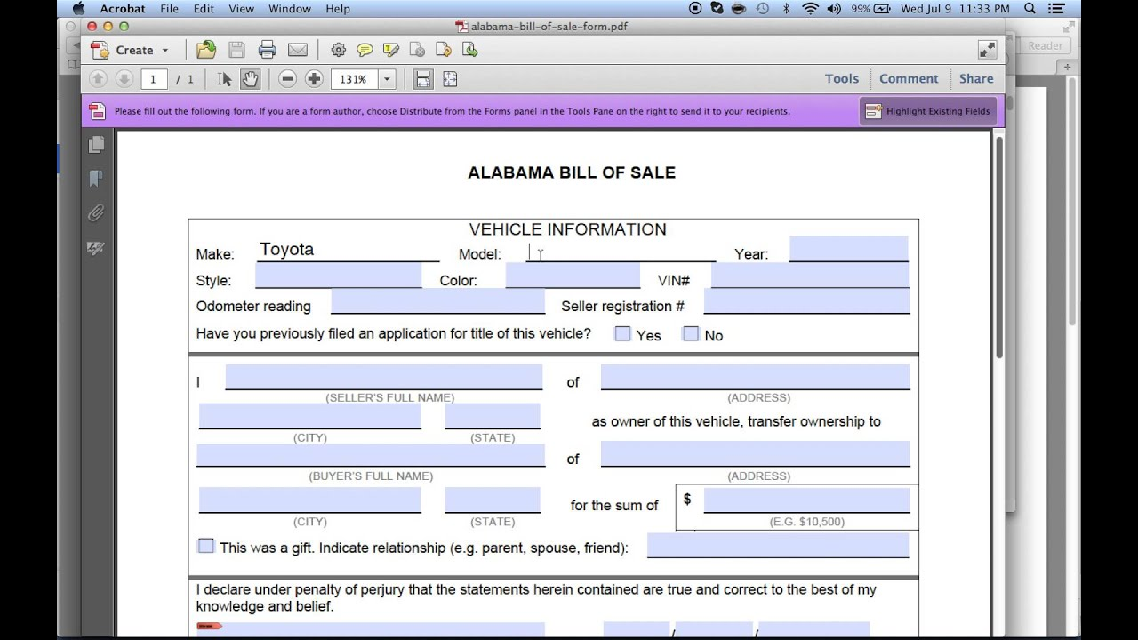 how to write a bill of sales