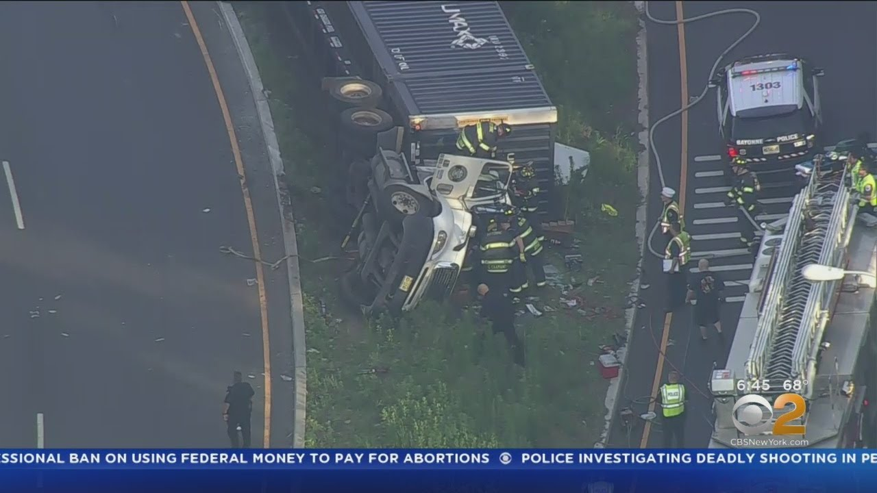 Tractor-Trailer Overturns In Bayonne, N J
