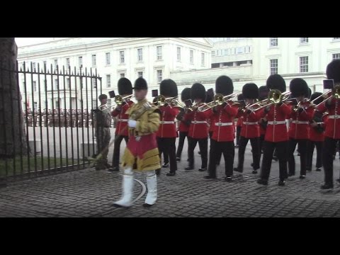 Scots Guards Parade from Wellington Barracks to Receive New Colours