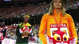 Medal ceremony Beijing 2015 100 meters  Fraser Pyrce