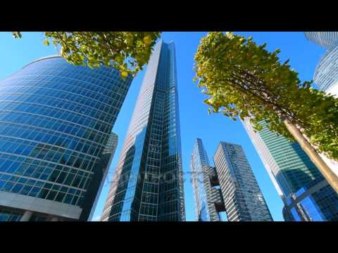 Stock video: skyscrapers buildings in financial district. Stock market, business video background.