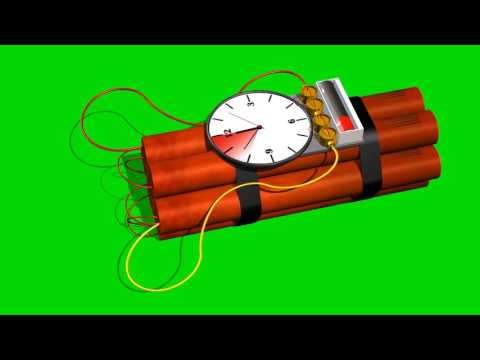 dynamite bomb with clock timer  - 10 sec.time laps - green screen