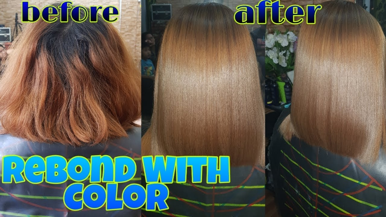 REBOND with COLOR for SHORT HAIR - YouTube