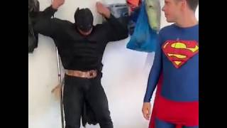 King bach: Batman VS superman 👌😂💥. W/ Rudy mancuso
