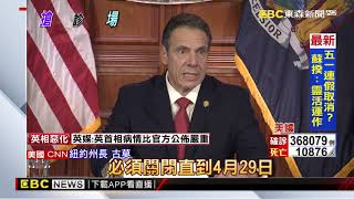 紐約州延長禁足令至四月底 社交距離罰款加倍