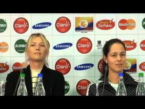 Maria Sharapova and Ana Ivanovic at press conference in Bogota,Colombia 2013