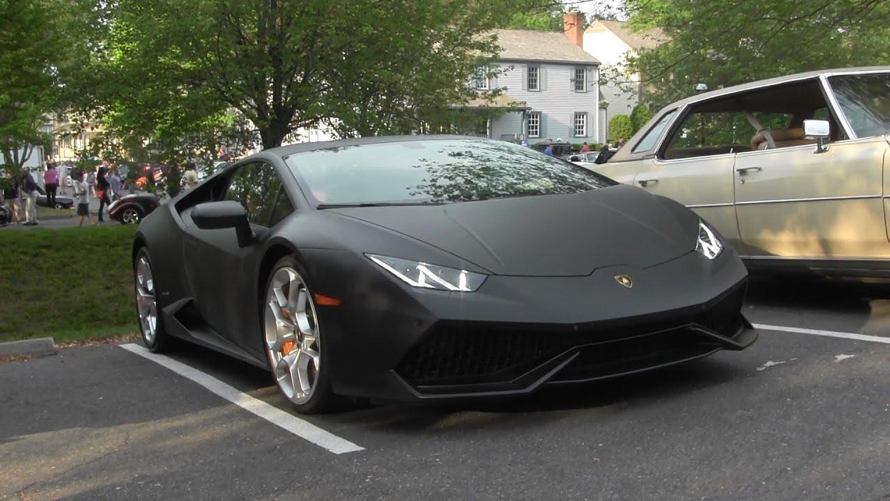 Matte Black Lamborghini Huracan   Aventador   Ferrari 458 Speciale   Cars  And Coffee   YouTube