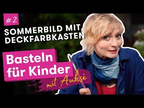 Aukse TV | Basteln für Kinder | Sommerbild mit Deckfarbkasten malen