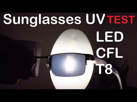 Lamp UV emission: a reactions glasses test. LED, CFL, Metal Halide, SON