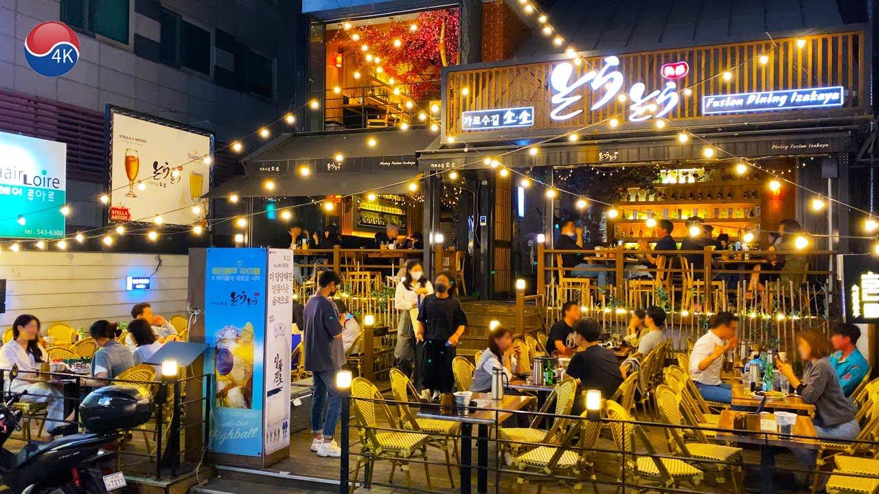 "[4K] Seoul Walk - ""Garosu-Gil"" Gangnam Friday Night, let's walk together Garosu-gil,Sinsa-dong."