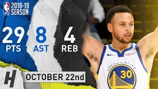 Stephen Curry Full Highlights Warriors vs Suns 2018.10.22 - 29 Pts, 8 Ast, 4 Reb!