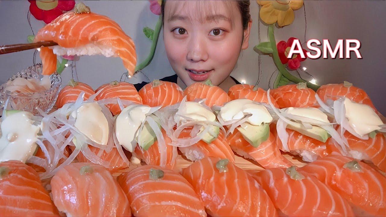 ASMR 巨大生アトランティックサーモン寿司 Giant Salmon Sushi 거대한 연어 초밥【咀嚼音/大食い/Mukbang/Eating Sounds】