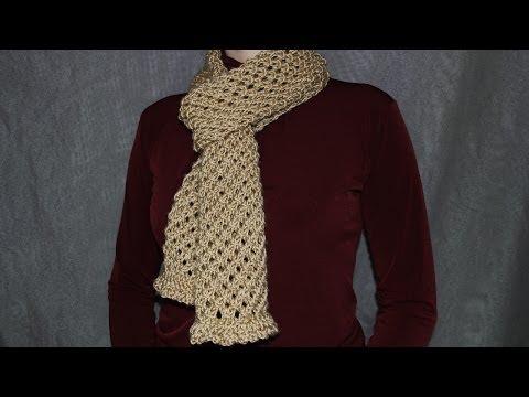 Как cвязать шарф спицами - урок вязания для начинающих.