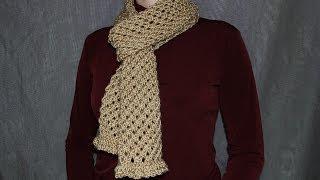 Как cвязать шарф спицами - урок вязания для начинающих.(Вязание шарфа спицами используя простой узор в виде ячеек., 2013-12-27T01:53:36.000Z)