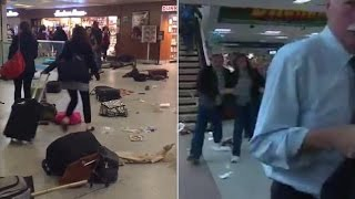 PENN STATION PANIC Police Arrest different Angles videos