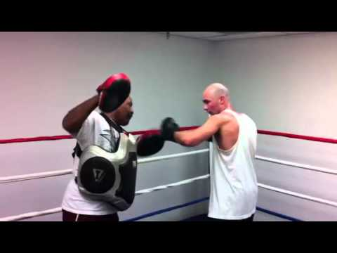 Chris McGarahan Junior working the pads at Boxing and More