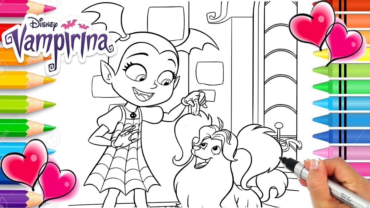 Vampirina and wolfie coloring page vampirina coloring book disney jr printable coloring page