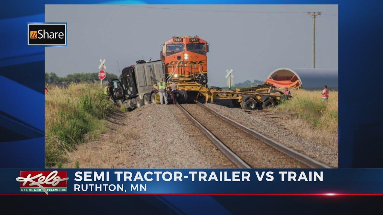 Train vs. semi-truck crash in Pipestone County - YouTube
