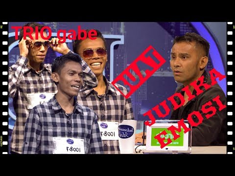 Trio, alias si unik Gabe menyanyi bikin judika marah dan ketawa   AUDITION 2   Indonesian Idol 2018