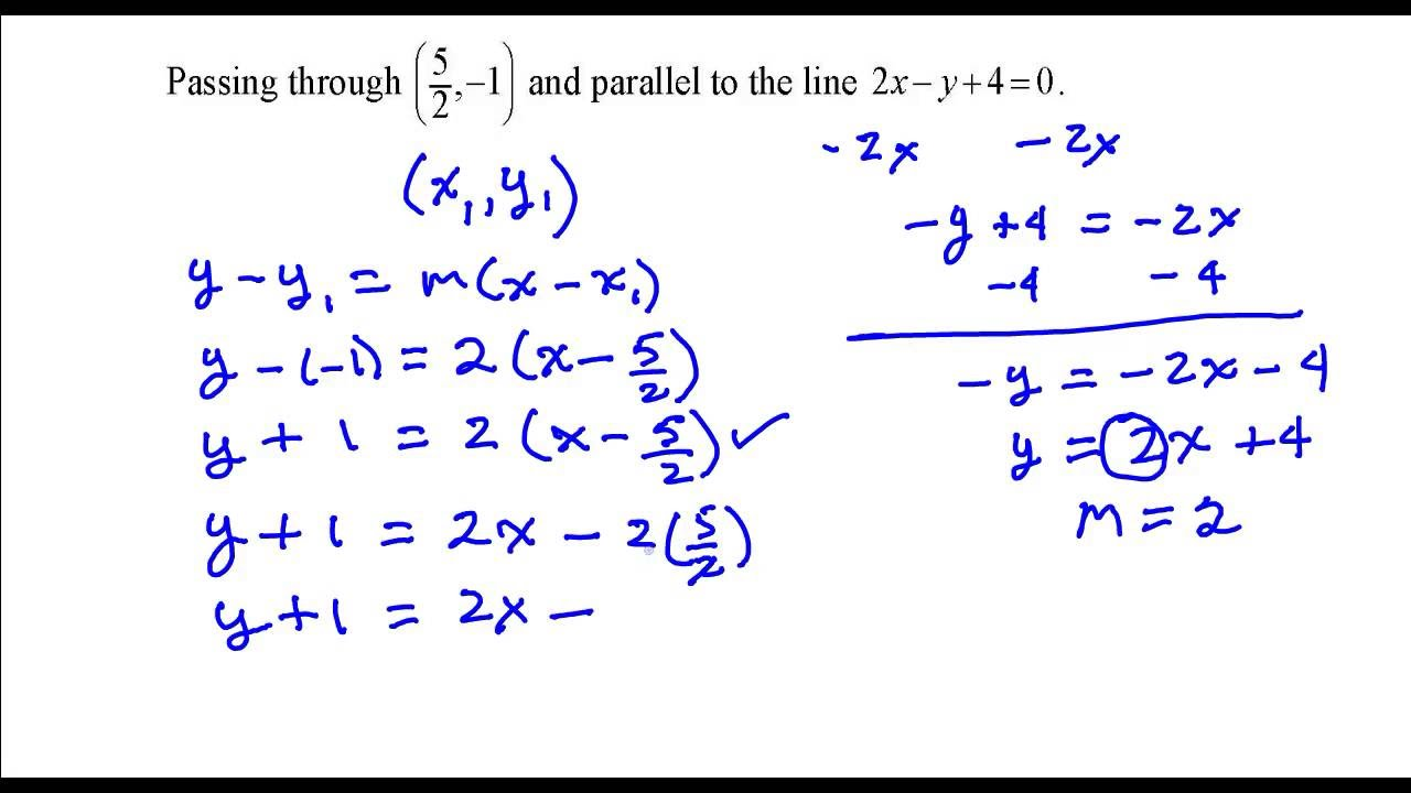 find the equation of the line that is perpendicular to this line and passes through the point