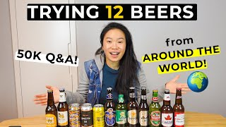 Drinking 12 International Beers From Around The World! | 50k Sub Milestone Video Get To Know Me QnA!