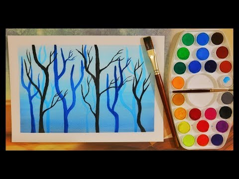 watercolor painting tutorial of woods for beginners