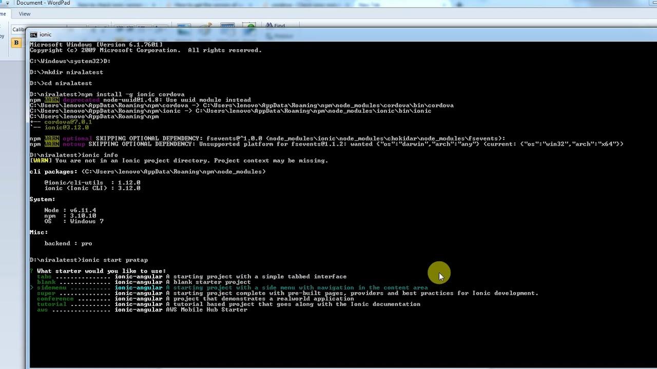 How to Install Ionic Framework & cordova in Windows