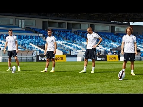 Real Madrid's Bale, Benzema, Modric & Jese show amazing rugby skills!