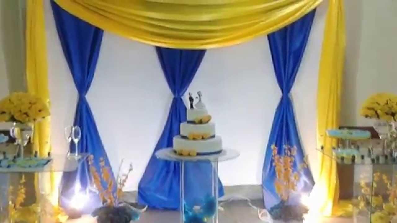 Buffet lelfestas, decoração amarela e azul  Doovi
