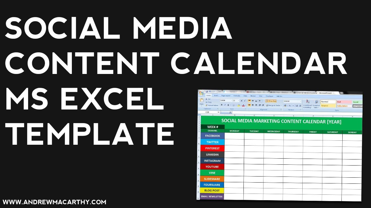 Social Media Content Calendar Template Excel Social Media