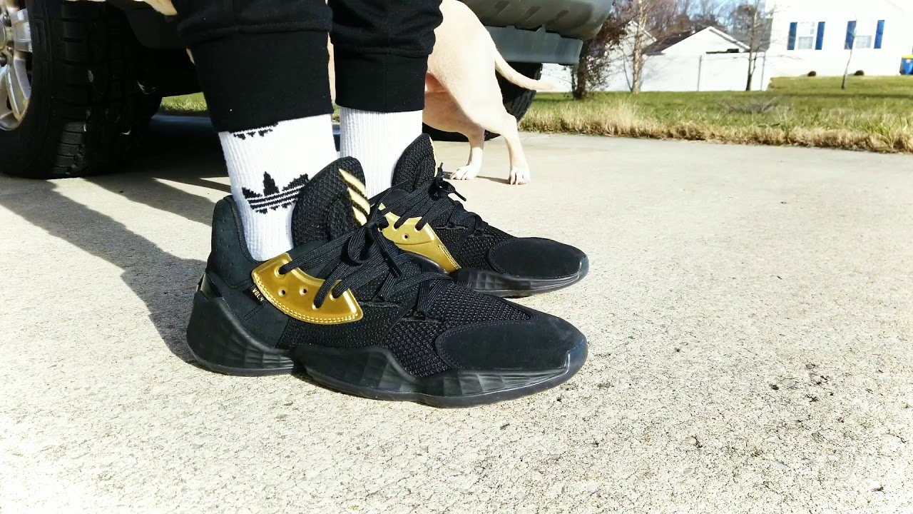 Harden Vol. 4 Black and Gold on feet