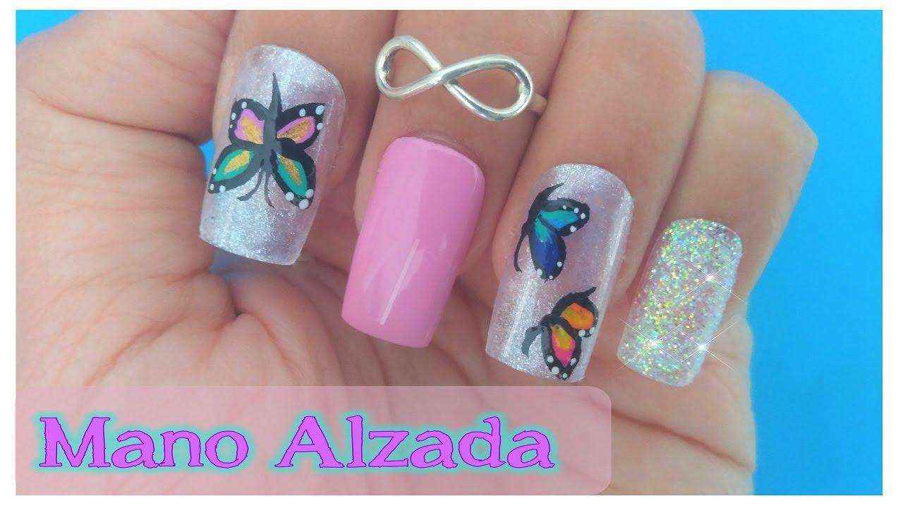 Diseño de Uñas de Mariposas - MANO ALZADA - YouTube