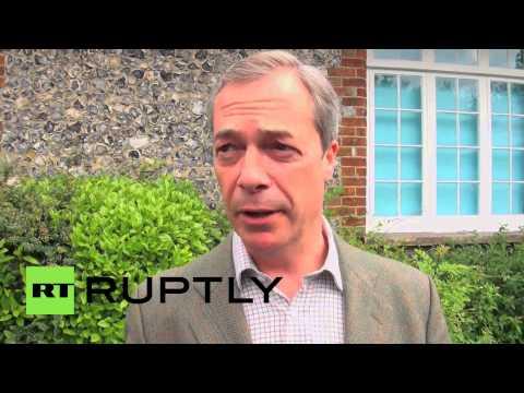 England: UKIP leader Farage casts EU vote