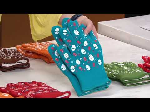 TEMP-TATIONS OVEN SAFE OVEN GLOVES MITTSBLUE WITH SILICONE ACCENTS NEW Large