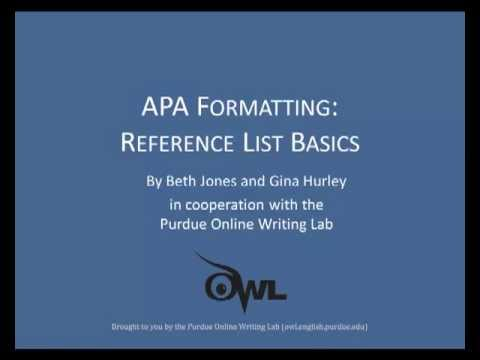 Purdue OWL APA Formatting Reference List Basics - YouTube