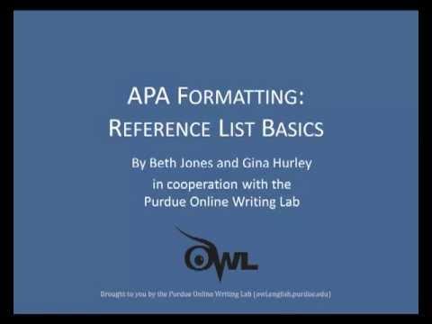 Purdue OWL APA Formatting Reference List Basics - YouTube