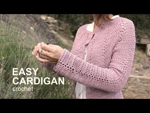 9bc4c8e2256f5 Tutorial Easy Cardigan Crochet in English - YouTube