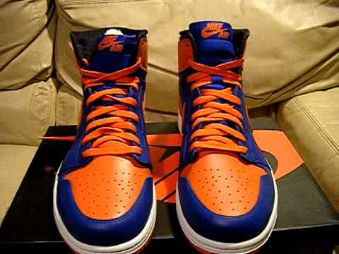 best sneakers 12b43 8095a Nike Air Jordan 1 Retro 2013 NY Blue Orange White New York DS NIB size 13  and 14, video for ebay
