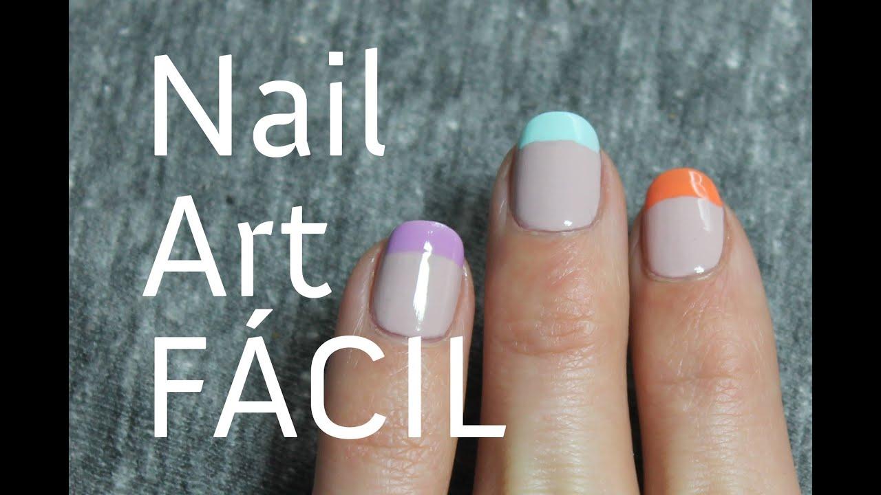 Cómo hacer una manicura francesa de colores pastel paso a paso - YouTube