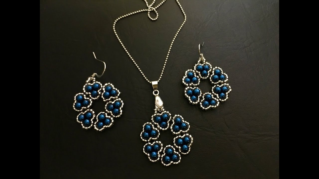 Stylish Beaded Jewelry Set Pendant Earrings