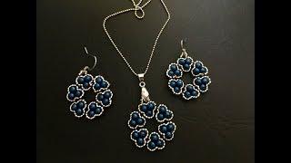 Stylish beaded jewelry set. Pendant & Earrings
