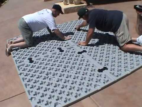 Installing your spa hot tub foundation base is fast and easy with EZ PADS.